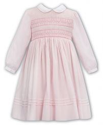 Sarah Louise Winter Long Sleeved Pink Dress With Full Smocked Top 012066