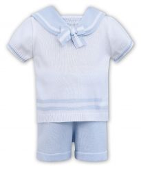 Dani By Sarah Louise Boys Sailor Knitted Set In White With Pale Blue D09334