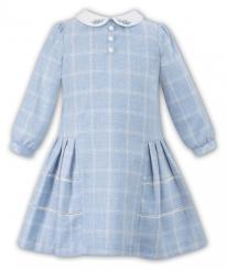Sarah Louise Winter Checked Pale Blue Dress 010948