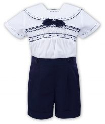 Sarah Louise Boys Summer White & Navy Sailor Set 011503