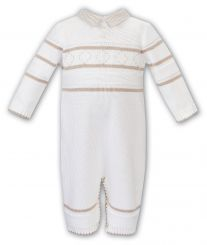 Sarah Louise Boys Winter Knitted Romper Ivory And Beige 011740