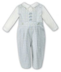 Sarah Louise Boys Winter Romper With Train Ivory & Blue 010851