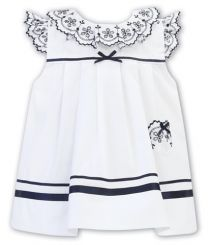 Sarah Louise Summer Dress White With Navy Detailing 011878