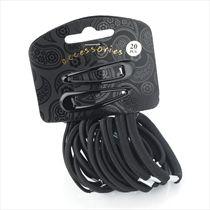 Hair Bobble & Hair Slide Pack: Black