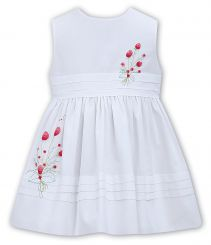 Sarah Louise Summer White No Sleeved Shorter Dress With Embroidery 011500