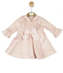 Mintini Baby Girls Winter Pink Velour Dress MB3042