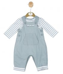 Mintini Baby Boys Winter Dungaree Set In Grey Blue MB2884