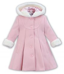 Sarah Louise Winter Pink Coat With Hood 011423
