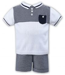 Sarah Louise Boys Summer Romper Knitted Navy And White Stripes 008079