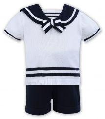 Dani By Sarah Louise Boys Sailor Knitted Set In White With Navy D09334