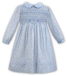 Sarah Louise Winter Pale Blue Ditsy Floral Smocked Dress 011319