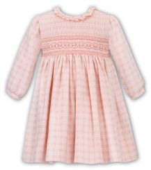 Sarah Louise Winter Dress Peach Check And Full Smocking 011712