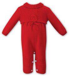 Sarah Louise Girls Knitted Red Romper 008042