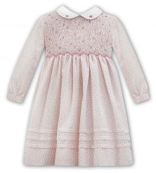 Sarah Louise Winter Dress In Pink Ditsy Floral Print 011352