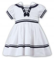 Sarah Louise Sailor Dress White With Navy 010814