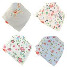 Zippy Baby Girl Bandana Dribble Bib 4 Pack Delicate Blues