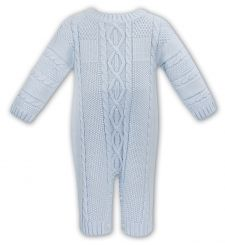Sarah Louise Boys Winter Pale Blue Knitted Romper 008127