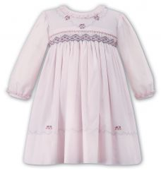 Sarah Louise Smocked Pink Winter Dress With Grey Embroidery 010888