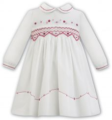 Sarah Louise Winter Ivory Dress With Crimson Smocking 011303
