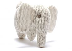 Best Years Knitted Organic Elephant Rattle White