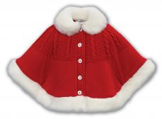 Sarah Louise Winter Poncho With Trim Red 008140