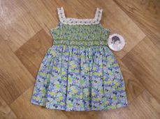 Sarah Louise Bow Dress In Blue and Greens 9880
