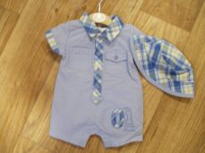 Mintini Baby Pale Blue Boys Romper With Hat MB1785