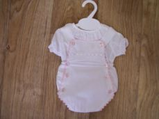 Summer Romper Set Girls White & Pale Pink