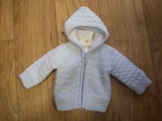 Boys Knitted Jacket Pale Blue With Hood 3478