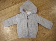 Boys Knitted Jacket Grey With Hood 3478