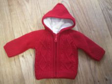 Boys Knitted Jacket Red With Hood 2702