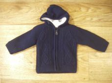 Boys Knitted Jacket Navy With Hood 2702