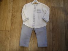 Sarah Louise Winter Boys Ivory Shirt & Grey Trouser Set 011332