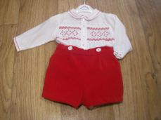 Sarah Louise Boys Spanish Short & Shirt Winter Set Red & White 011253