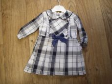 Girls Winter Checked Navy Dress 18202