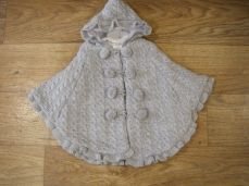 Baby Girls Knit Pom-pom Poncho Grey 2978