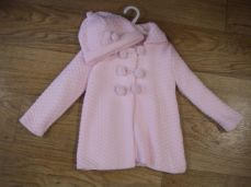 Girls Knitted Coat & Hat Pink 2977