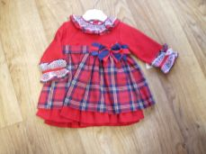 Girls Red Tartan Winter Dress With Bow V626