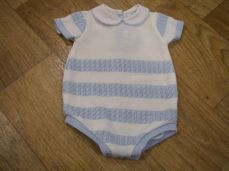 Sardon Summer Boys Knitted Romper Pale Blue & White
