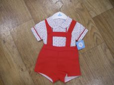 Sardon Summer Boys H-bar Dungaree Set Red