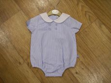Mintini Baby Boys Summer Blue And White Stripe Romper MB2653