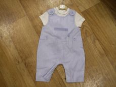 Mintini Baby Boys Summer Dungaree Set Pale Blue & White Stripe MB2648