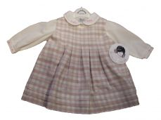 Sarah Louise Winter Check Pinafore & Blouse In Ivory & Pink 011341
