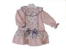 Girls Spanish Style Winter Pink Cord & Floral Dress AB1310B