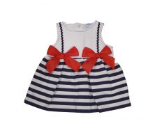 Sardon Summer Girls Navy And White Stripe Dress