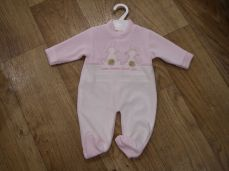 Pex Pink Velour Bunny Loves You Sleepsuit
