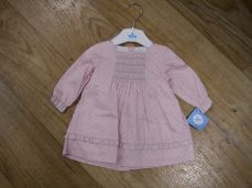 Sardon Winter Girls Dress Pink Floral Print With Smocking