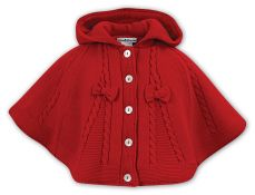 Sarah Louise Red Hooded Poncho 008061
