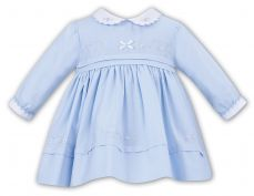 Sarah Louise Girls Winter Pale Blue Dress With Collar 011620