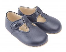 Early days Navy Classic T-bar Pram Shoe Alex